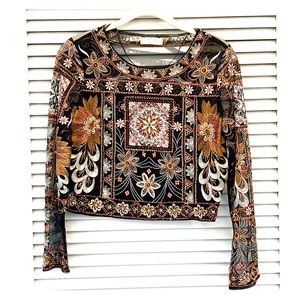 Zara Beaded Long Sleeve Crop Top